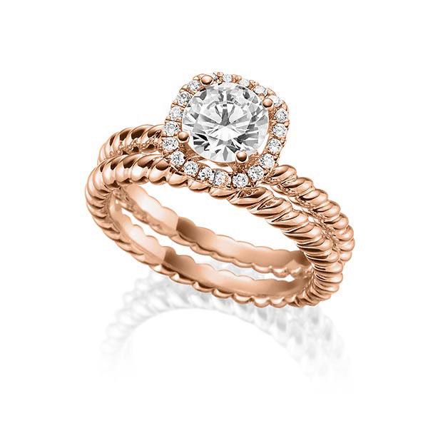Verlobungsring Diamantring 1 ct. tw, vs Rotgold 750